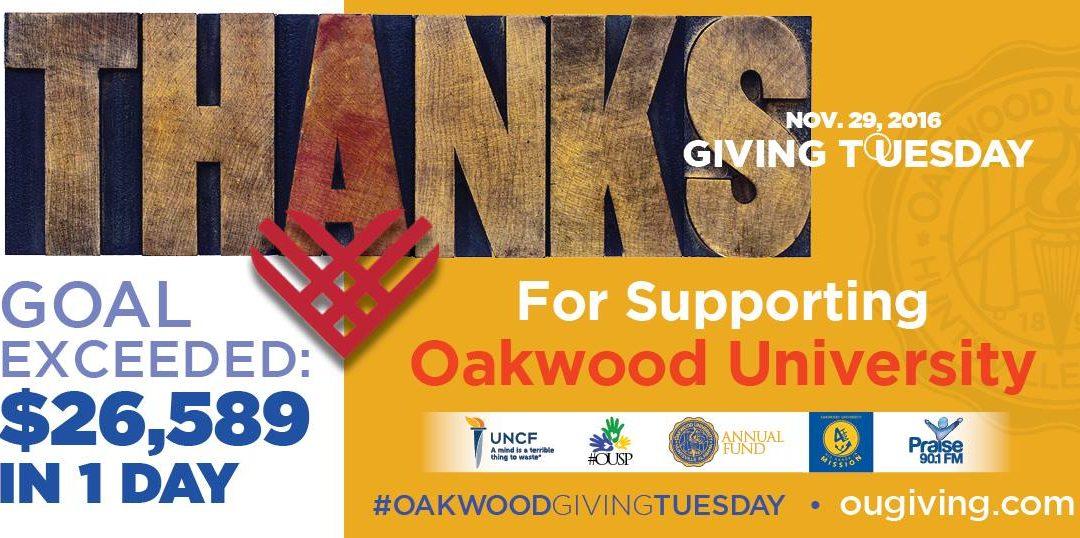 """Oakwood Exceeds """"#GivingTuesday"""" Goal"""