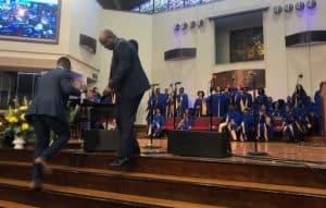 Students' jubilant response to the President's rousing sermon